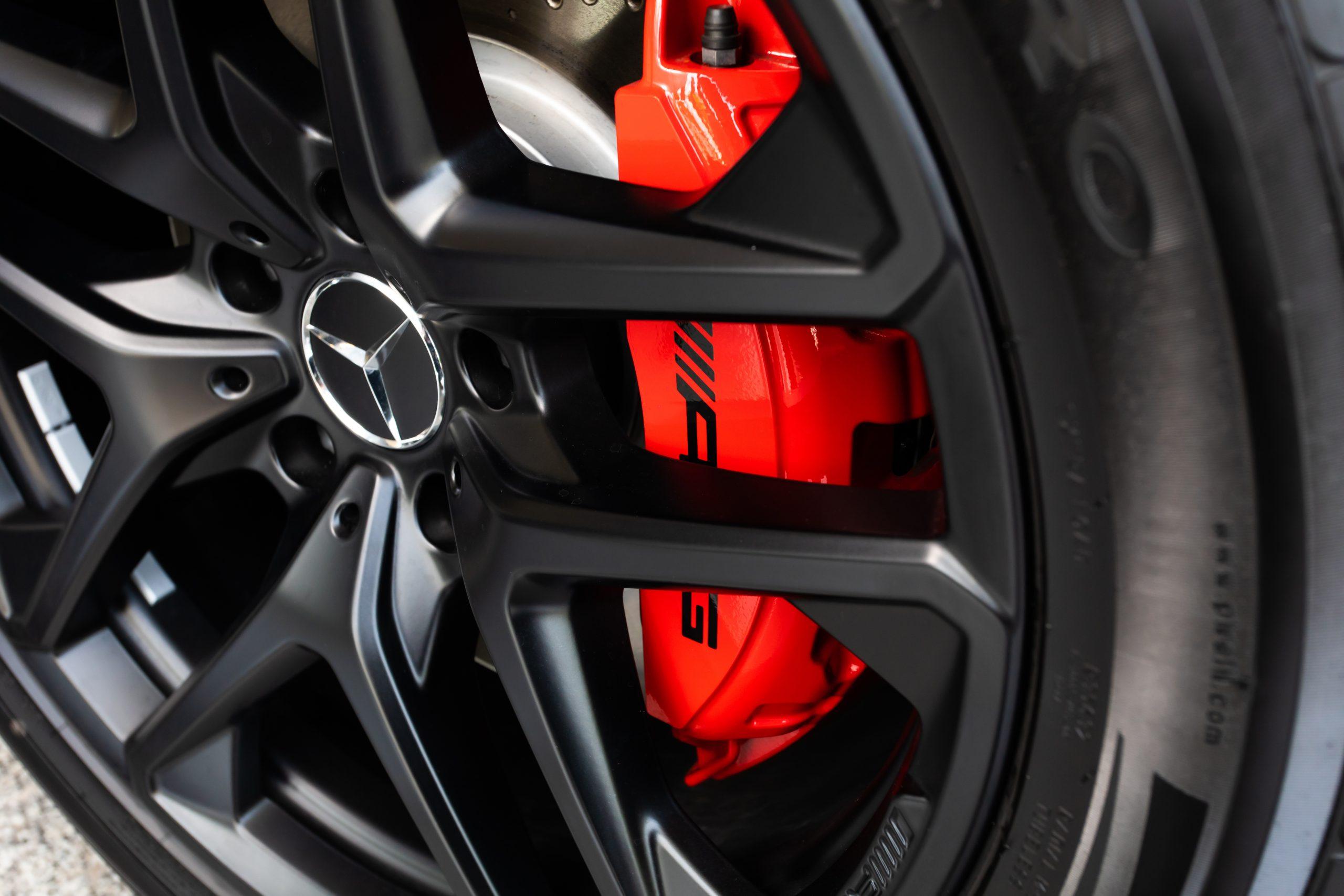 Bangkok, Thailand - 2012 June 11 : Closeup Mercedes AMG Wheel and with break disc in Bangkok Benz showroom.